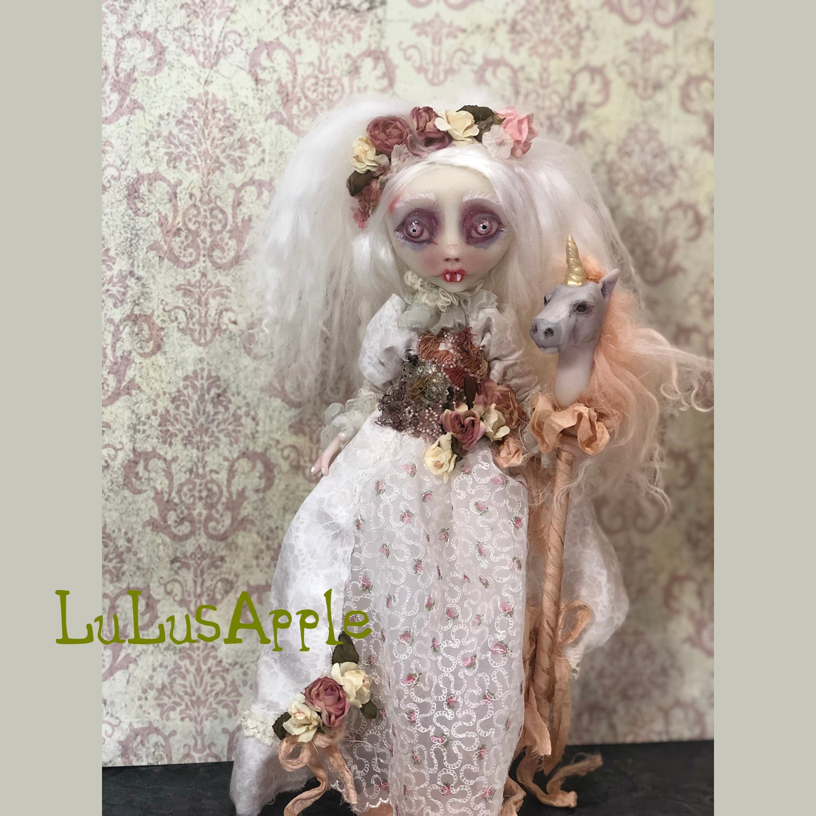 Maritess spring Vampire unicorn stickpony OOAK Art Doll LuLusApple