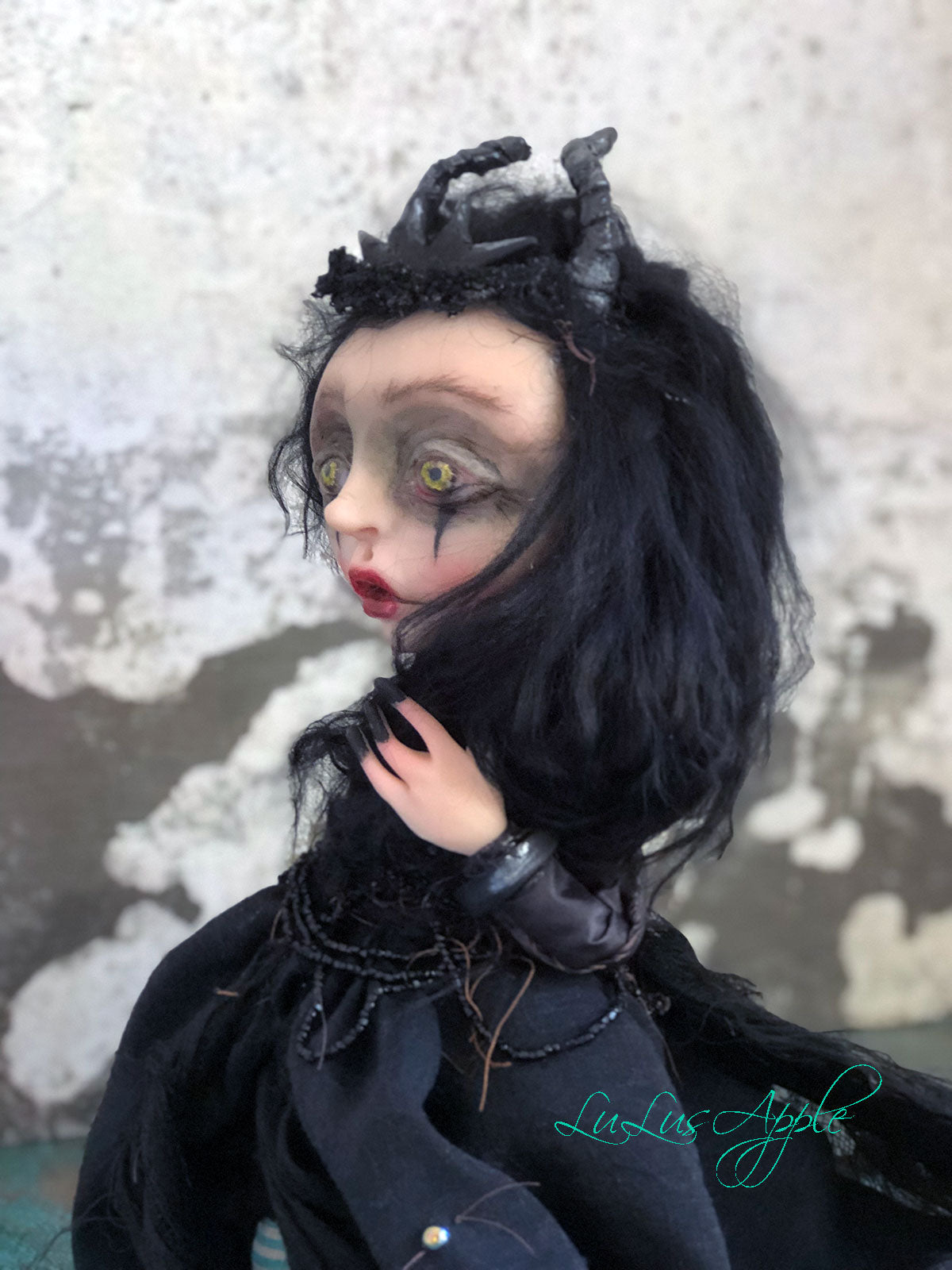 Marjolein the Black Horned Witch OOAK LuLusApple Art Doll