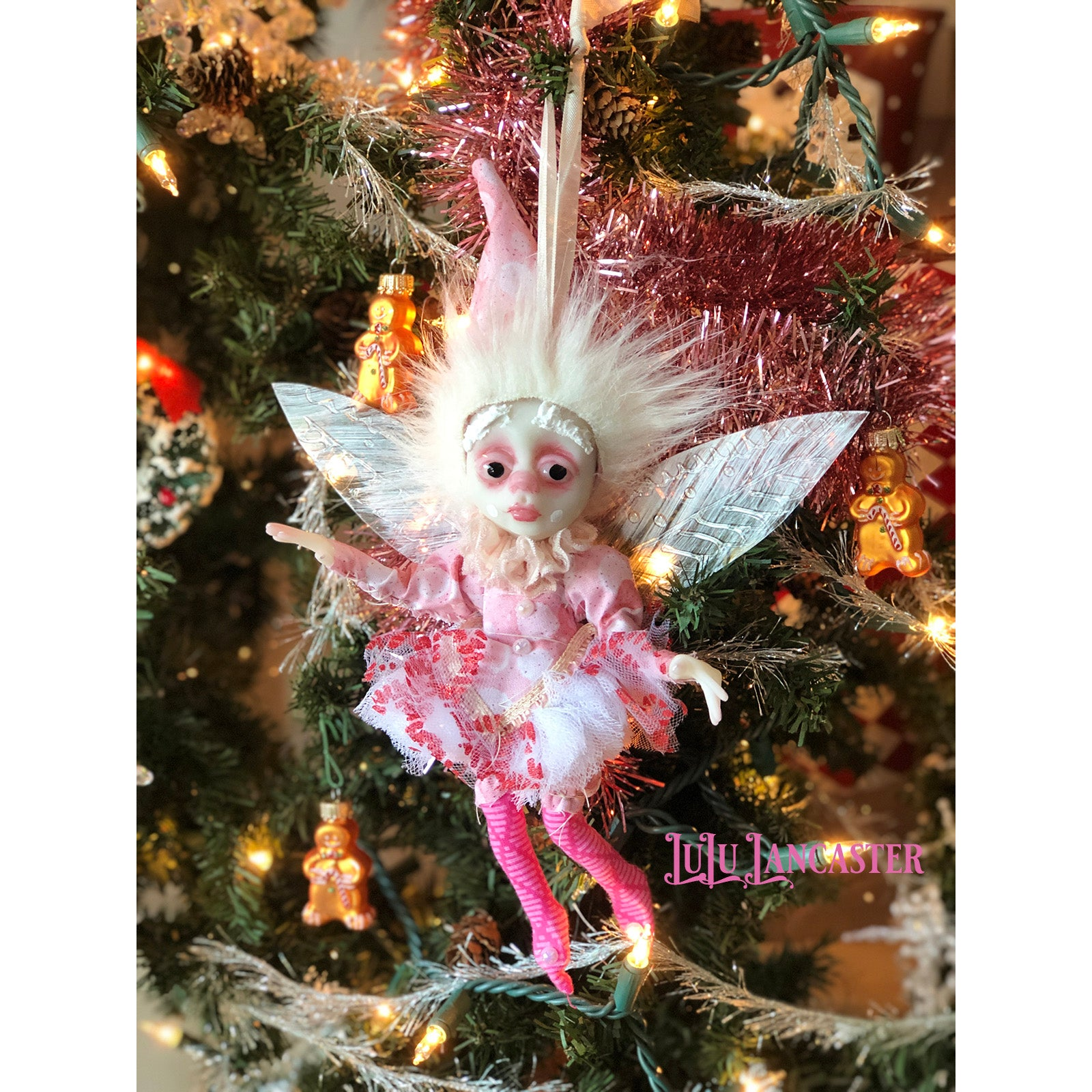 May SugarPlum Fairy Ornament OOAK Art Doll LuLu Lancaster