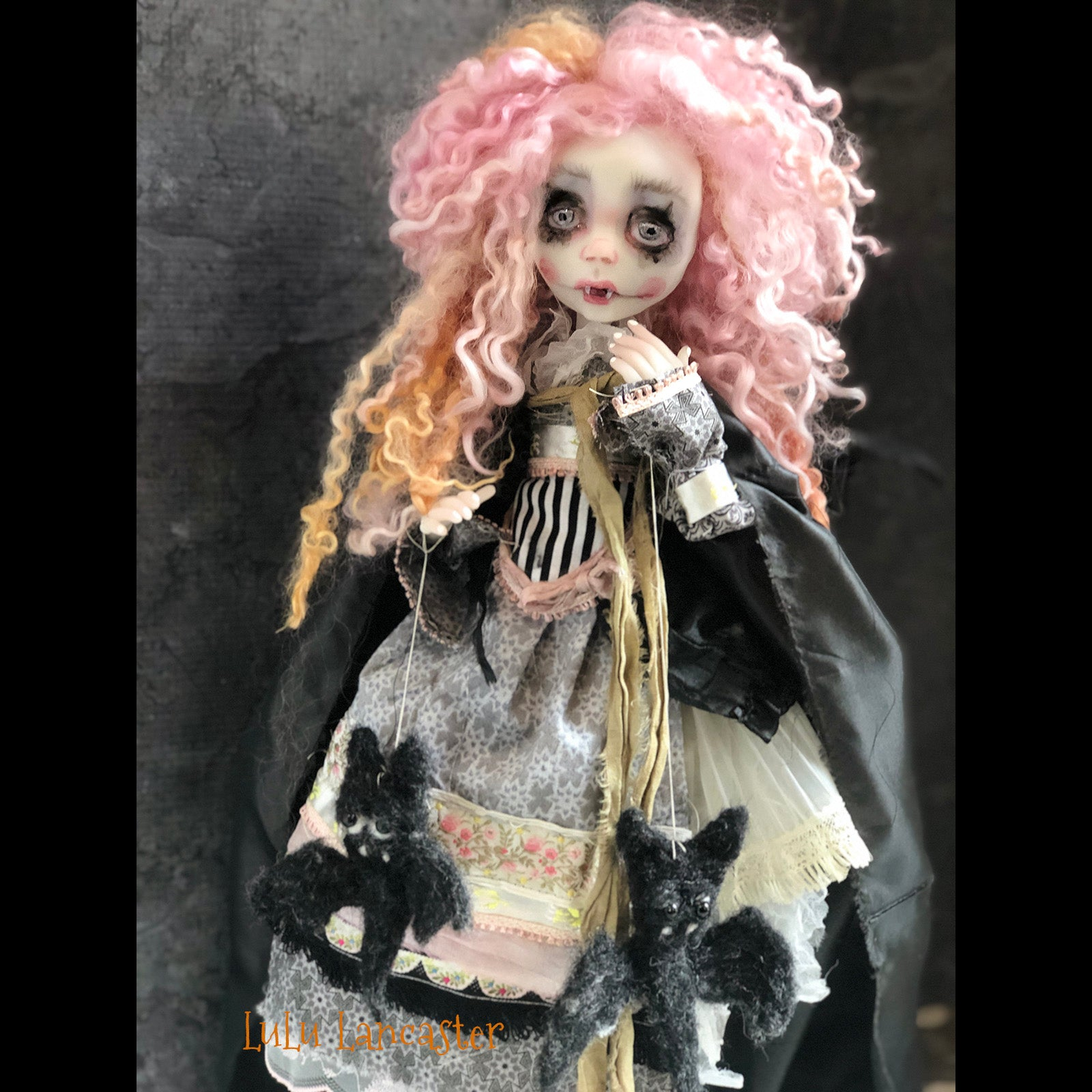 Merricat the Vampire Halloween original OOAK Art Doll LuLu Lancaster