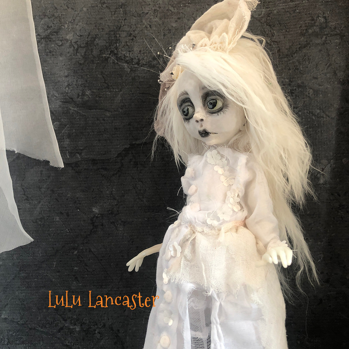 Middy Victorian Ghostly Girl and Skelly Unicorn stick pony OOAK Art Doll LuLusApple