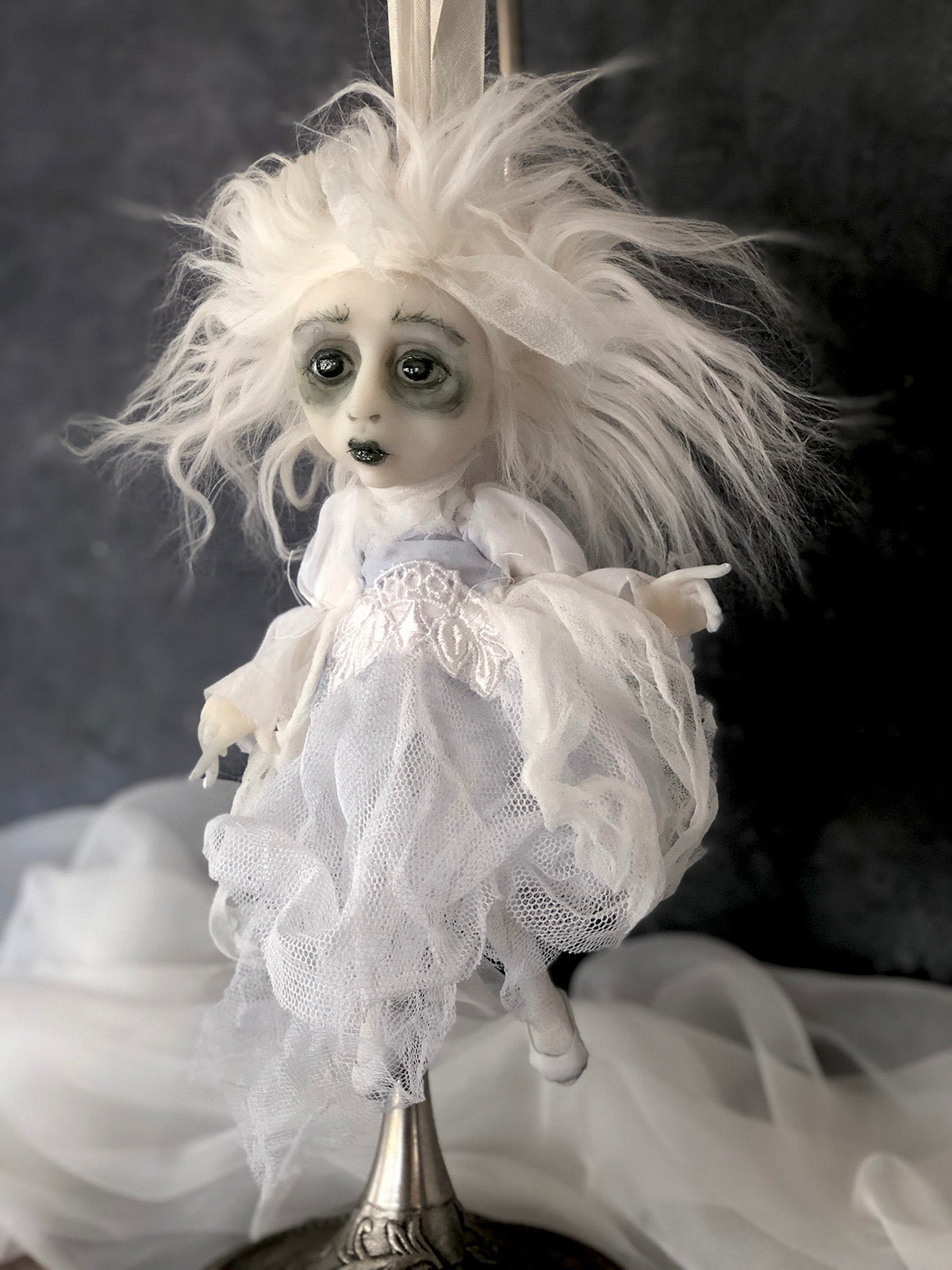 Chilling Charlotte Ghostly Halloween Hanging Mini OOAK LuLu Lancaster Art Doll