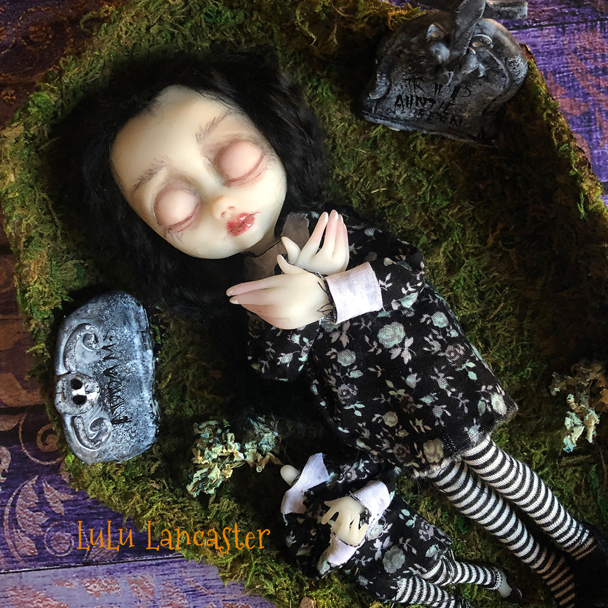 Mini Wednesday in graveyard sleeping kids OOAK Art Doll LuLu Lancaster