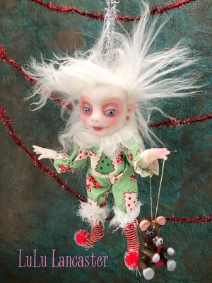 Mint Mini Hanging Elf Christmas Art Doll Ornament Original LuLu Lancaster