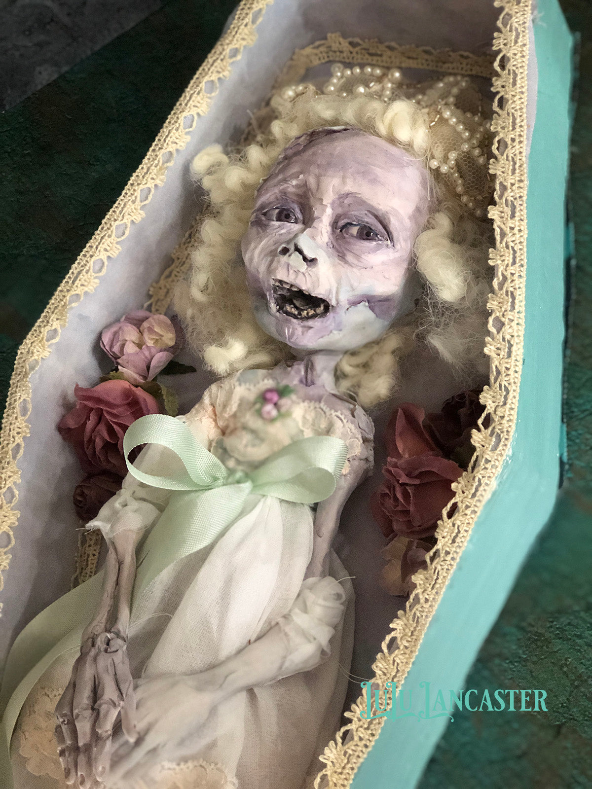 Miriam the Corpse Halloween Original wall hanging Art Doll by LuLu Lancaster