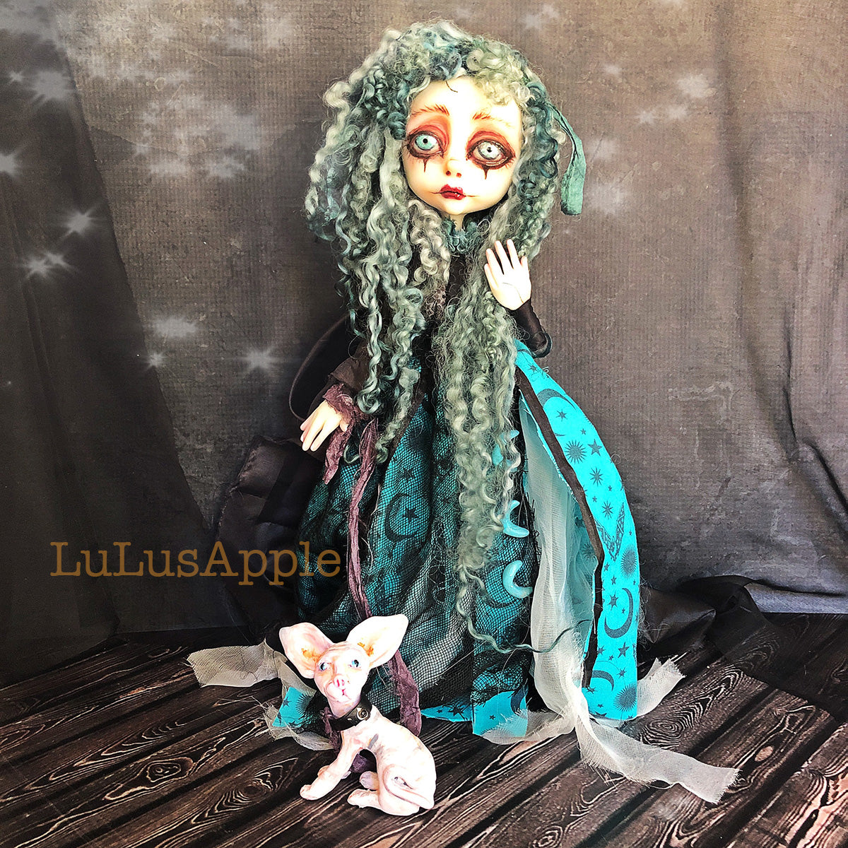 Enola the Moon Witch and her familiar Stardust OOAK Art Doll LuLusApple