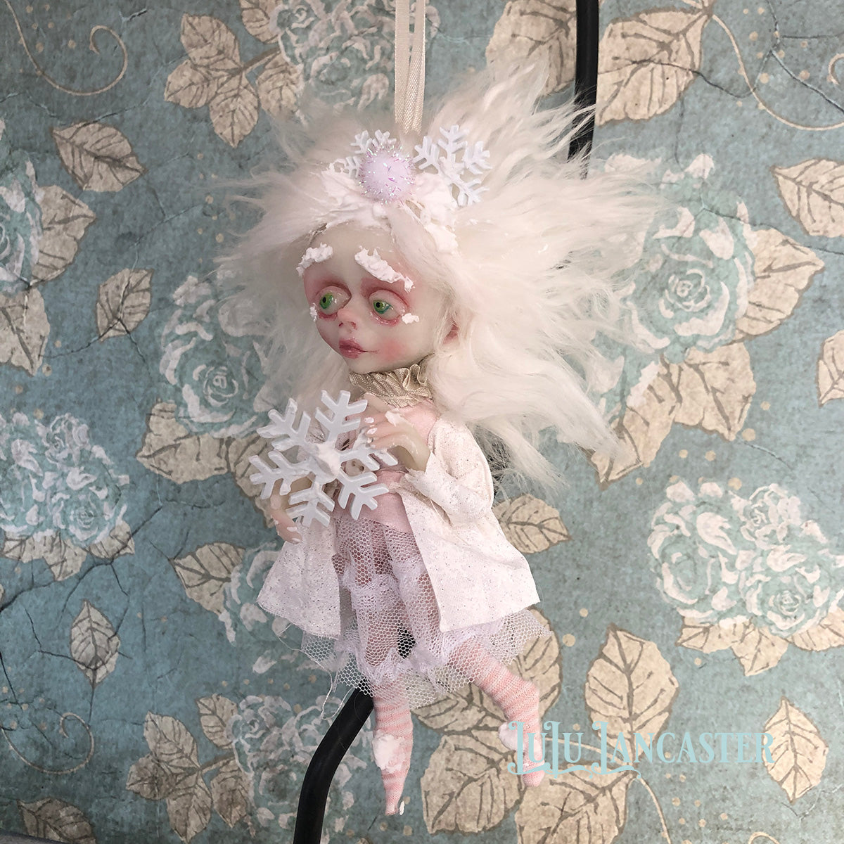 Nippy Mini hanging Frostie Ornament OOAK Art Doll LuLu Lancaster