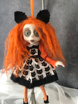 Miss. Kitty Halloween Hanging Mini OOAK LuLu Lancaster Art Doll