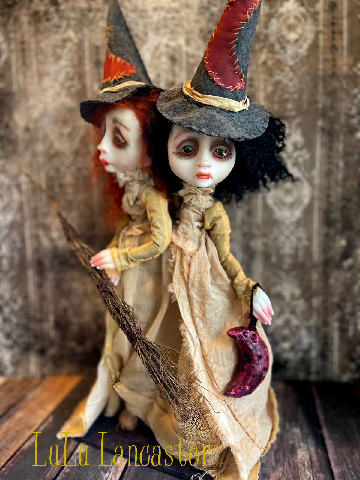 Owain and Cassian conjoined twin witches Original LuLu Lancaster Art Doll