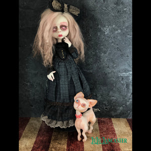 Blind Parker and Pinkerton the Sphynx cat OOAK Art Doll LuLu Lancaster