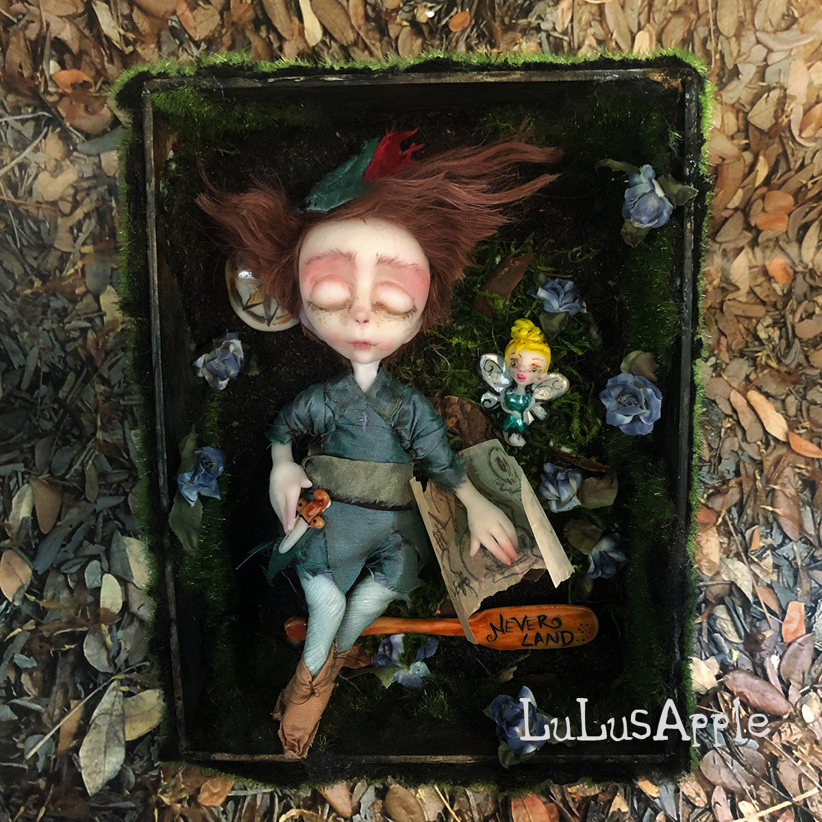 Peter and Tink sleeping kids OOAK Art Doll LuLusApple