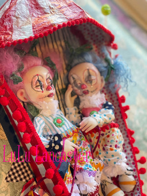 Pickles and Tickles circus clowns sleeping kids Original Art Dolls by LuLu Lancaster