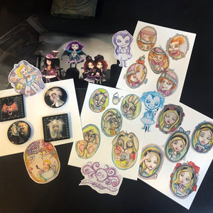 Stickers Pins and Postcard size prints Bundle