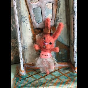 Pink Grapefruit Bunny Felted Hanging ornament OOAK LuLusApple Art Doll