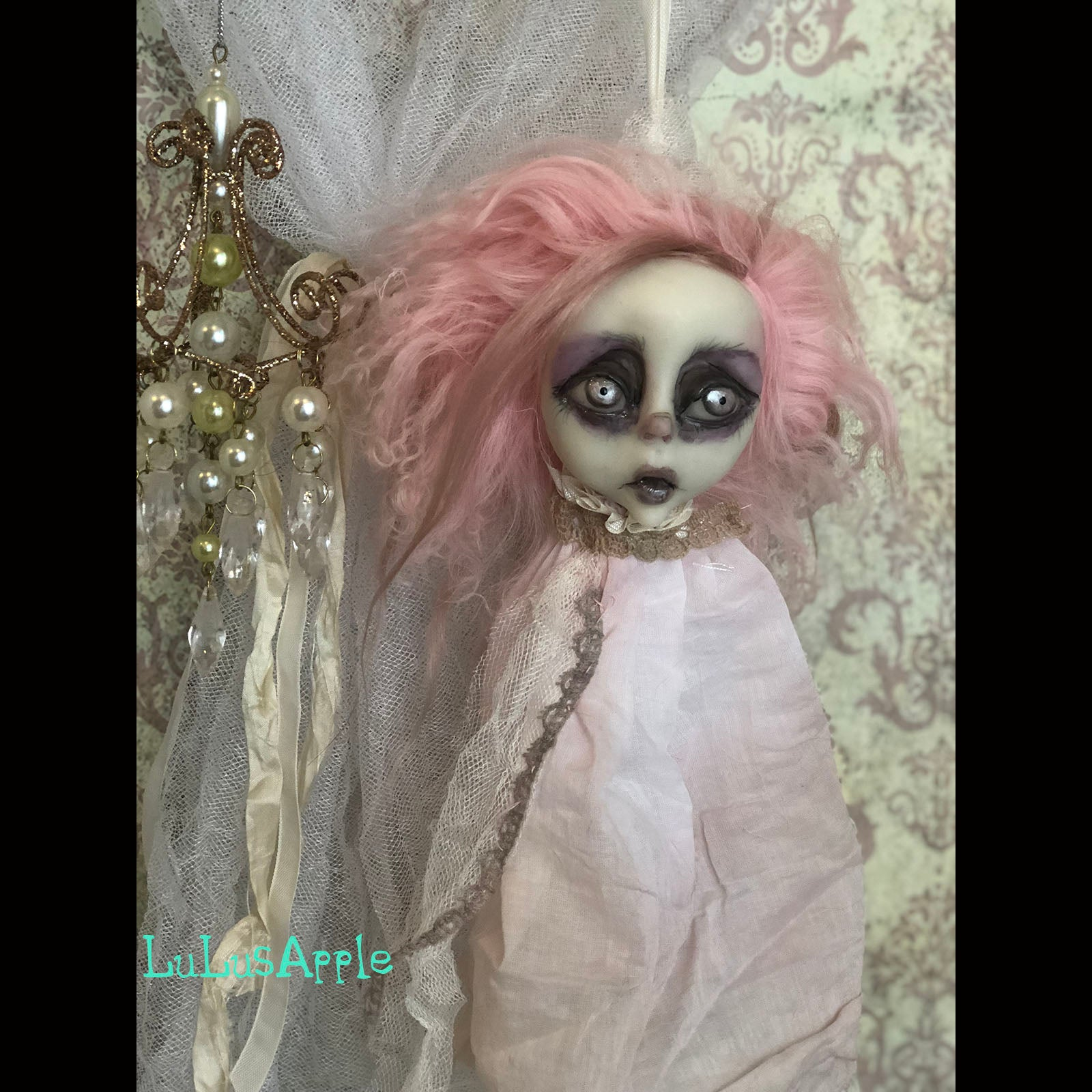 Decapitated pink Head Ghostly ornament OOAK LuLusApple Art Doll