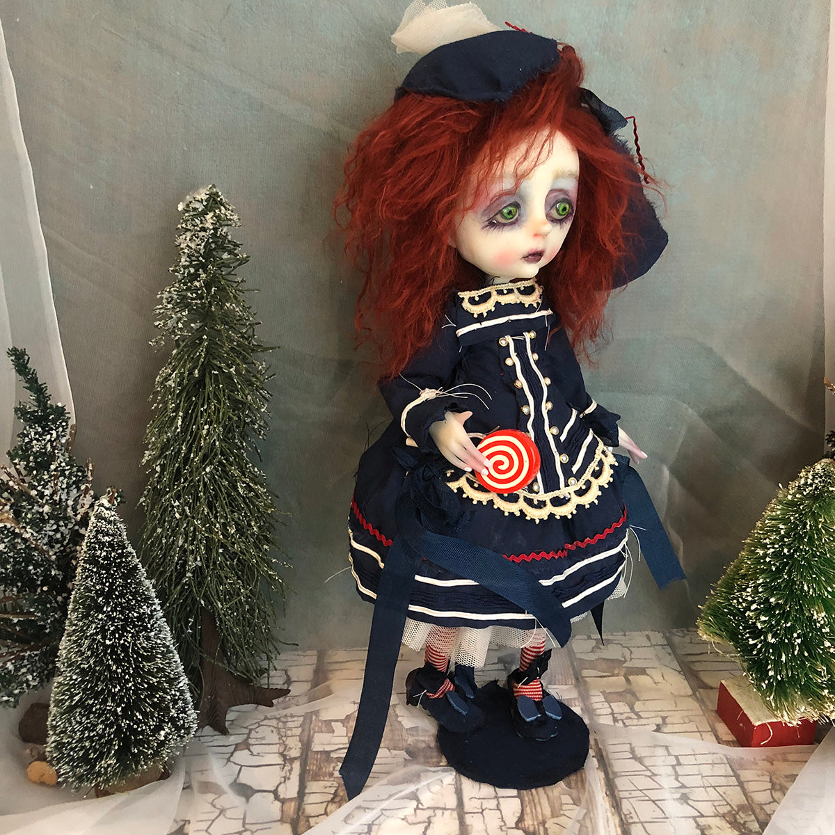 Presley shabby victorian style Winter OOAK Art Doll LuLusApple