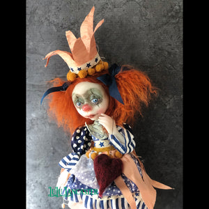 Raggedy Red Poupee the Last Clown OOAK Art Doll LuLu Lancaster