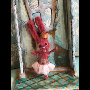 Raspberry the Bunny Felted Hanging ornament OOAK LuLusApple Art Doll