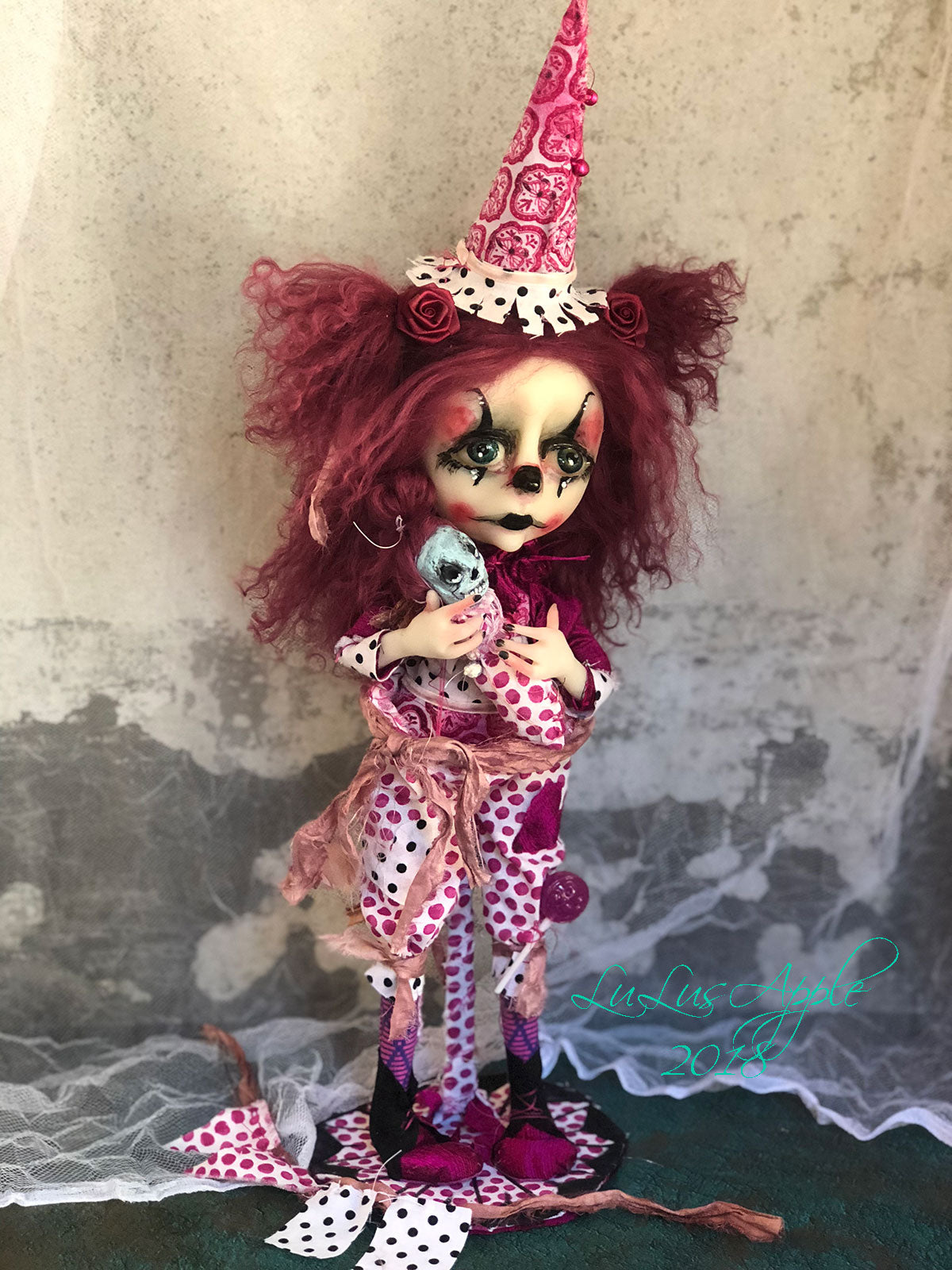 Raspberry BaggyBottom and Baby Freakish The Clown Circus sadness OOAK LuLusApple Art Doll