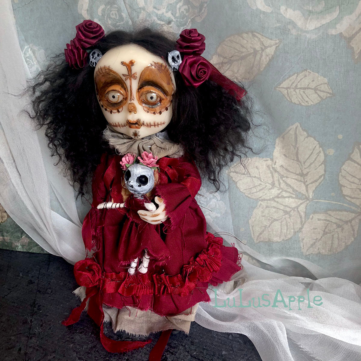 Rosa Dia de os Muertos Mini OOAK LuLusApple Art Doll