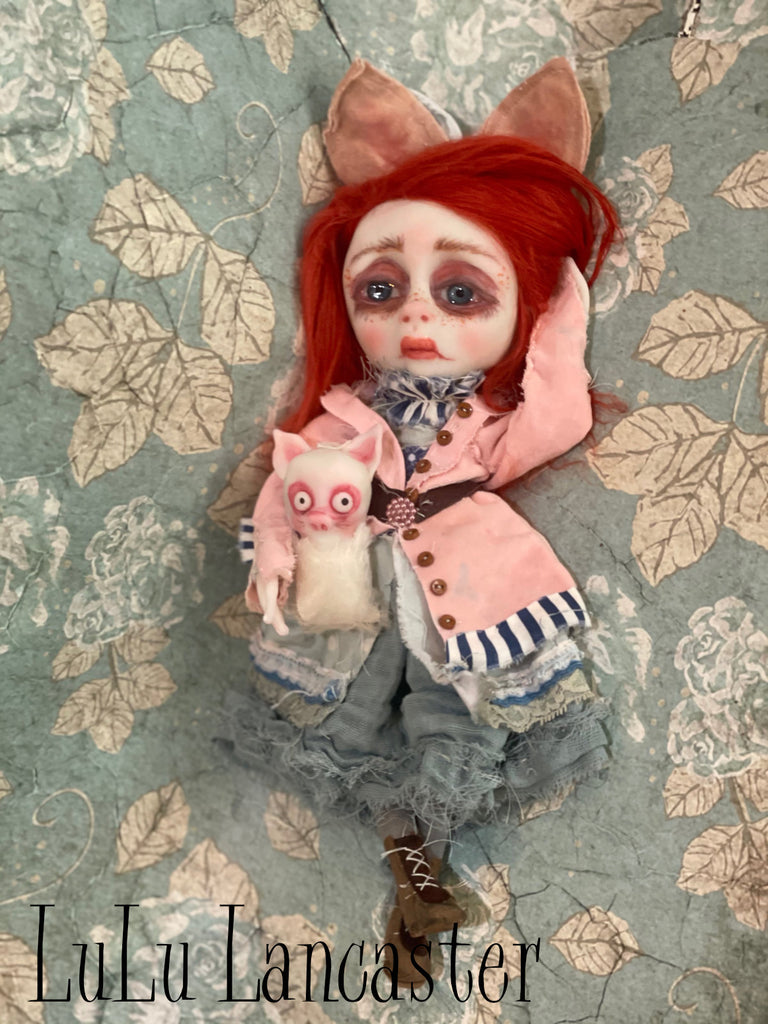 Sad Sansie Cat Original Art Doll LuLu Lancaster