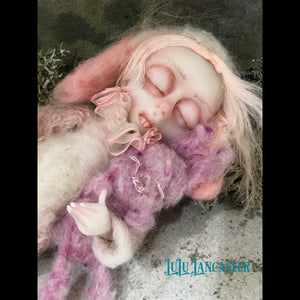 Sahara the Bunnie mini sleeping kids OOAK Art Doll LuLu Lancaster
