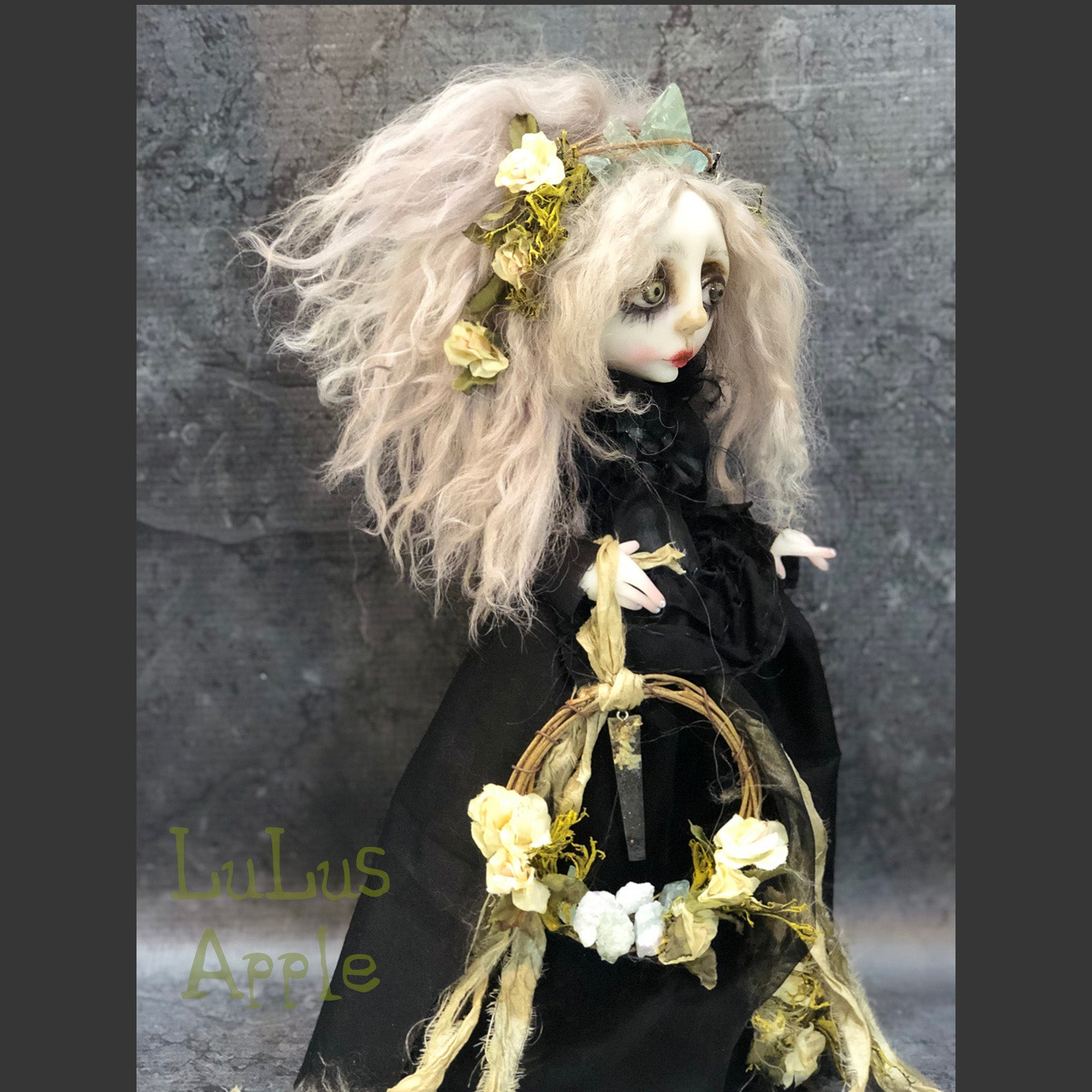 Salma the Hedge Witch Crystal Magick OOAK LuLusApple Art Doll