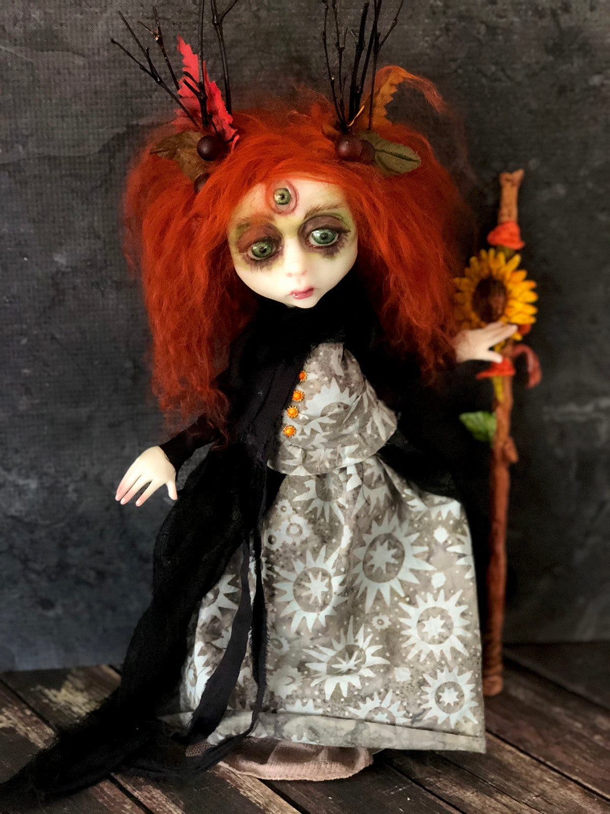 The Seer Third eye Witch OOAK Halloween Art Doll LuLu Lancaster