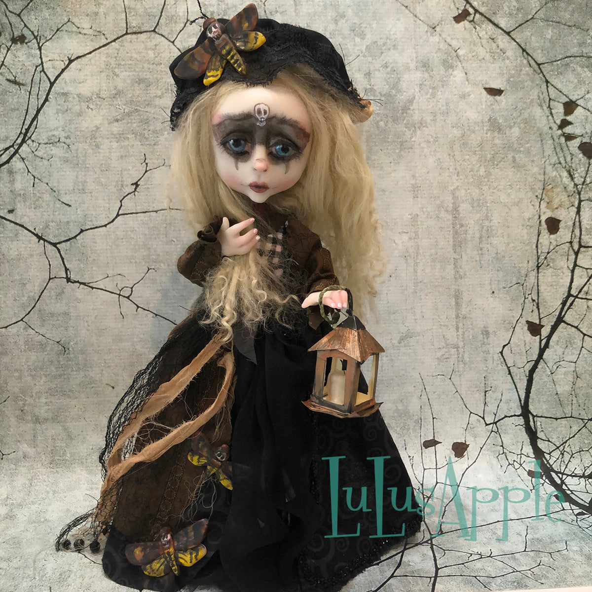Sophronia DeathsHead Moth Girl Winter OOAK Art Doll LuLusApple