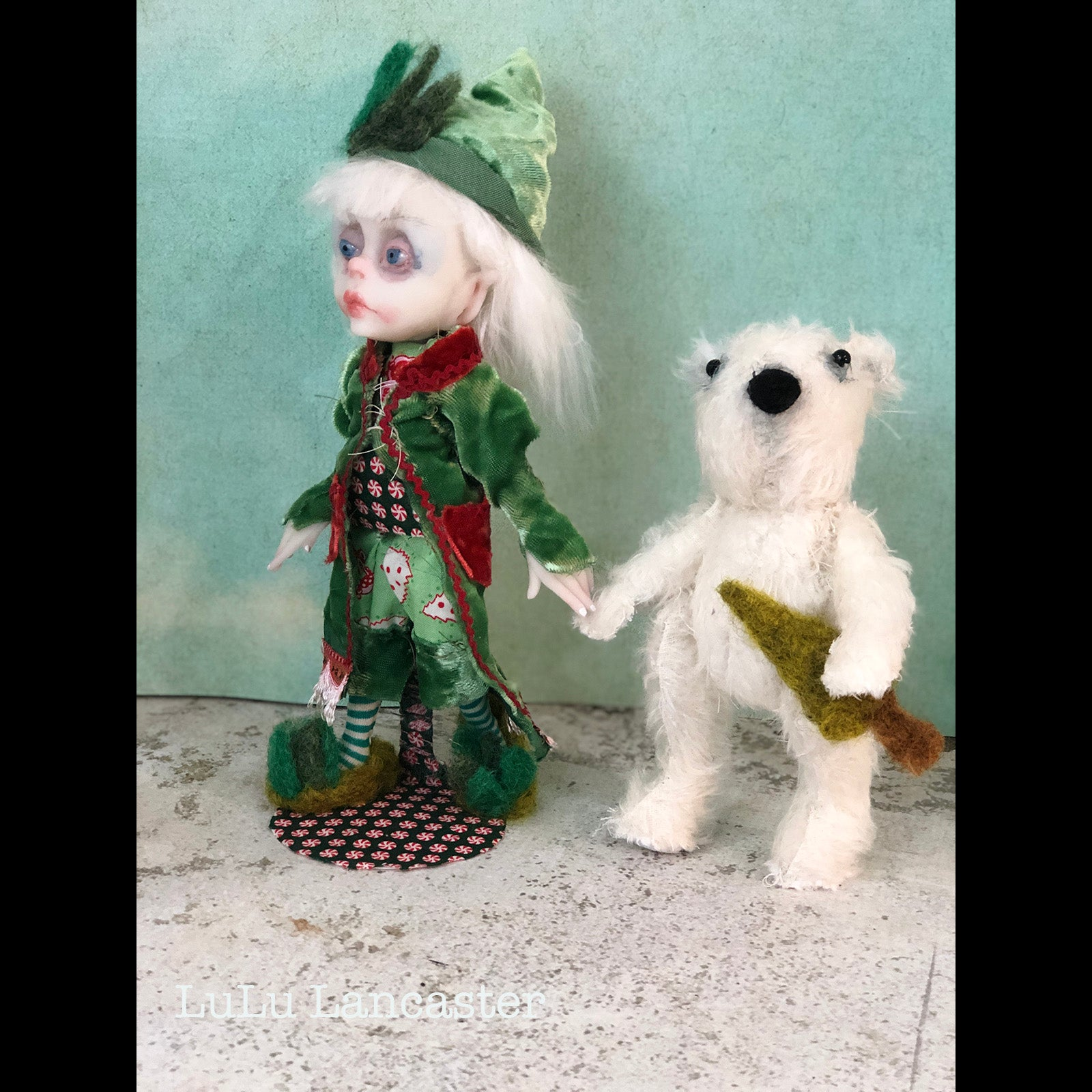 Stickie Sugartree the elf and mohair polar bear Art doll OOAK LuLu Lancaster