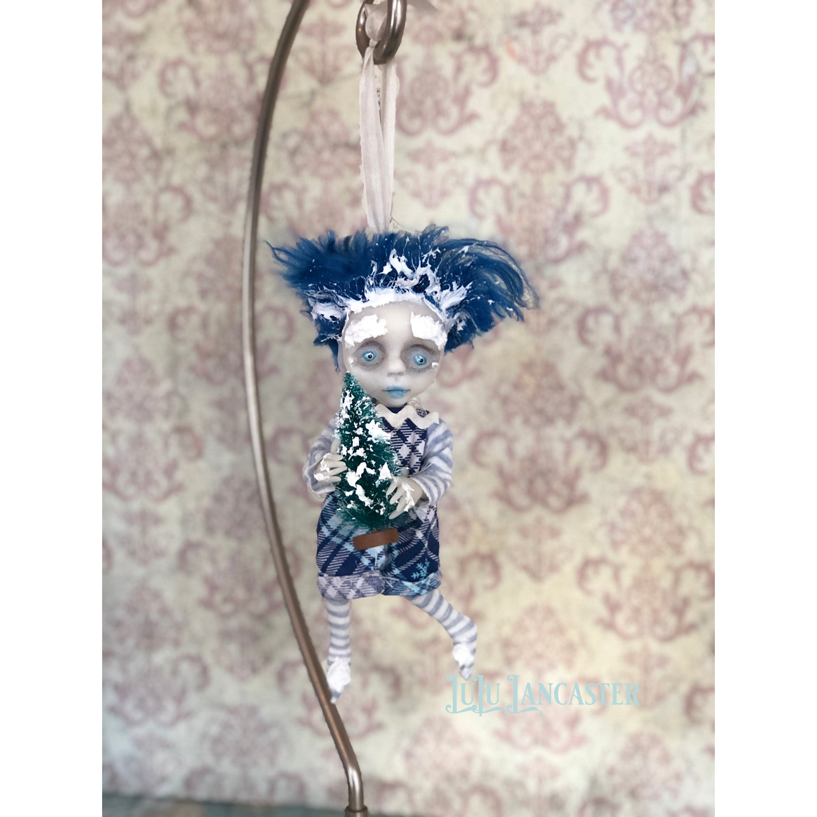Tad Frostie Boy Ornament OOAK Art Doll LuLu Lancaster