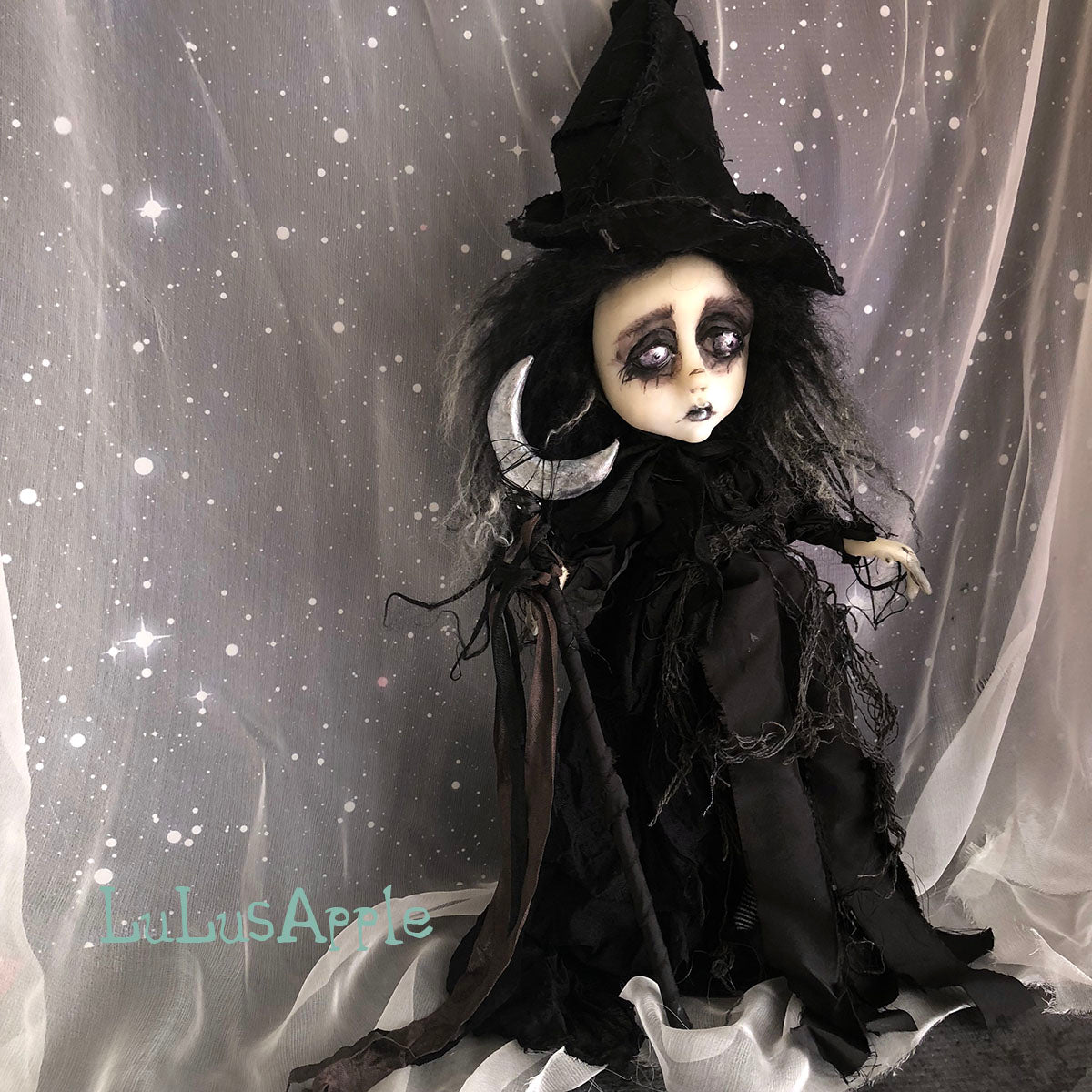 cager of the silver moon witch victorian halloween ooak art doll