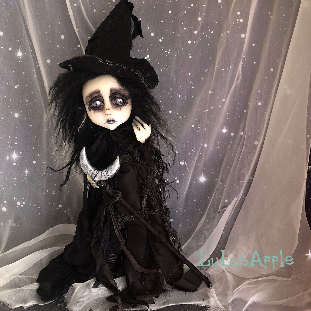 Cager of the silver Moon Witch Victorian Halloween OOAK Art Doll LuLusApple