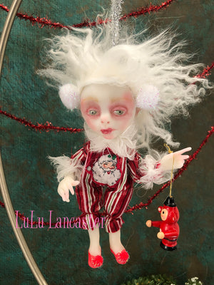 Teddie Mini Hanging Elf Christmas Art Doll Ornament Original LuLu Lancaster