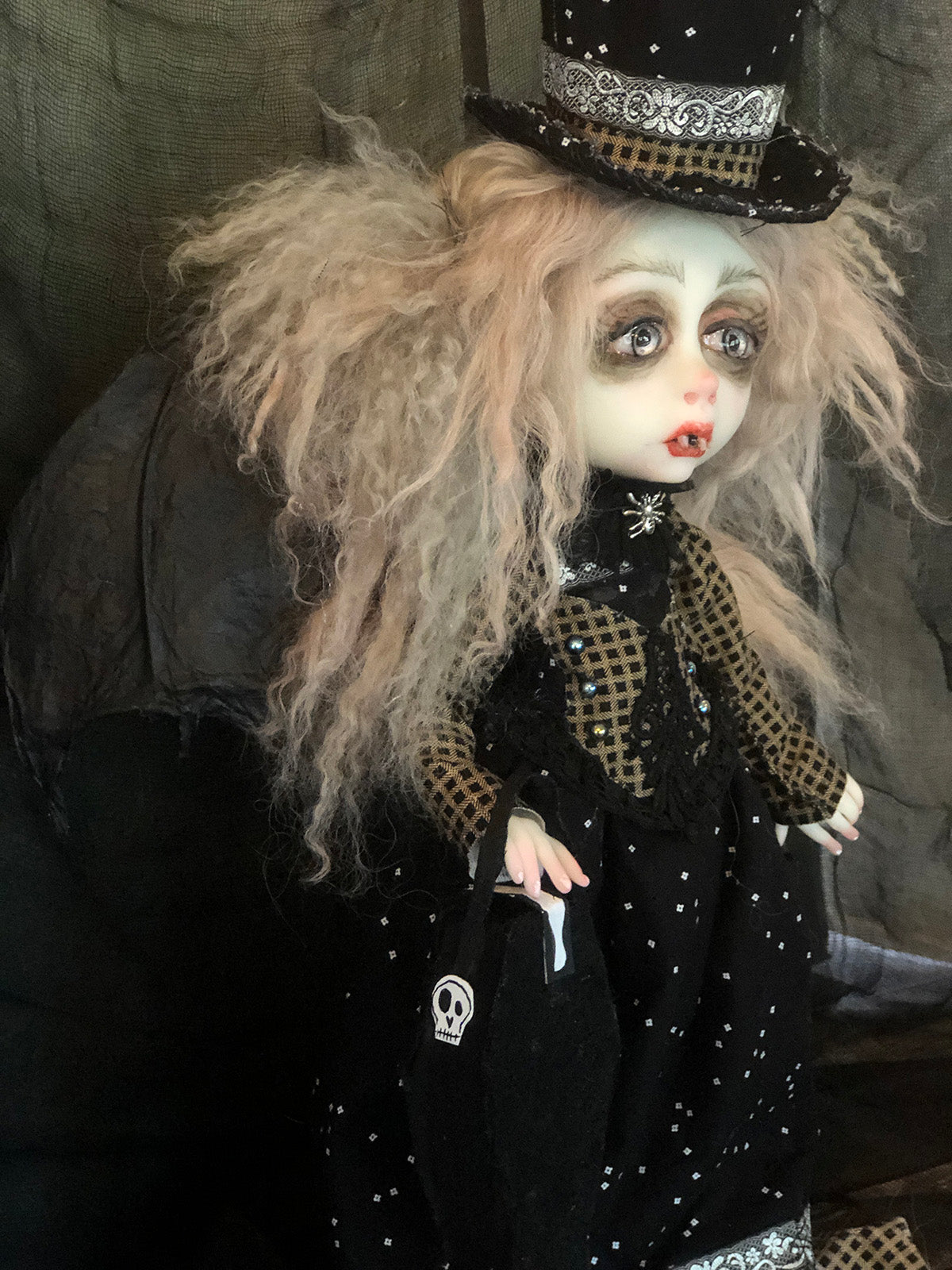 Vanya the Vampire Bat OOAK Halloween Art Doll LuLu Lancaster