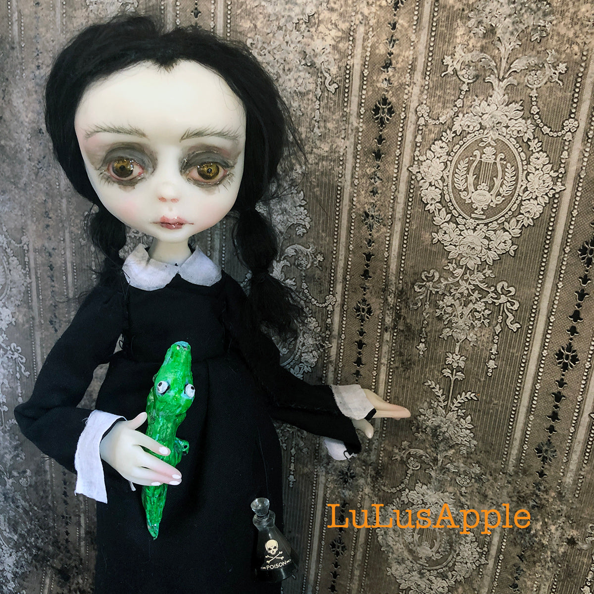 Wednesday and Cousin Itt OOAK Art Doll LuLusApple