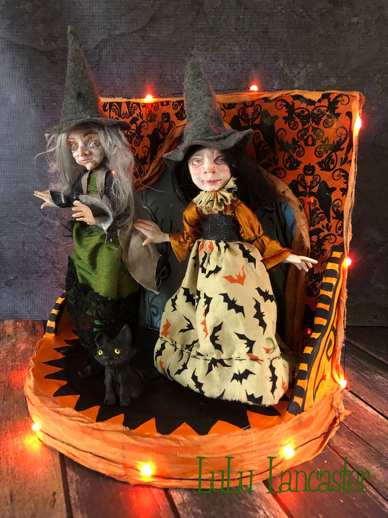 Mini Witches Halloween Stage Original Art Doll by LuLu Lancaster