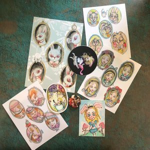 Wonderland Swag pack Stickers Pin and Postcards Mystery Original illustration