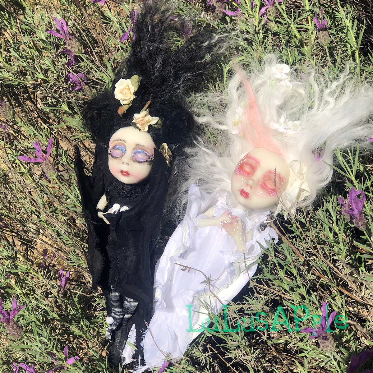 Yin and Yang mini sleeping bat kids OOAK Art Doll LuLusApple