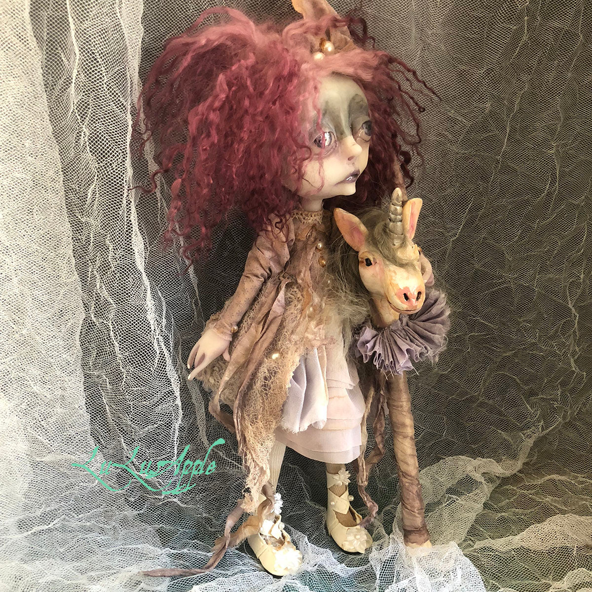 Yvonne and Unicorn stick pony OOAK Victorian Ghost Art Doll LuLusApple