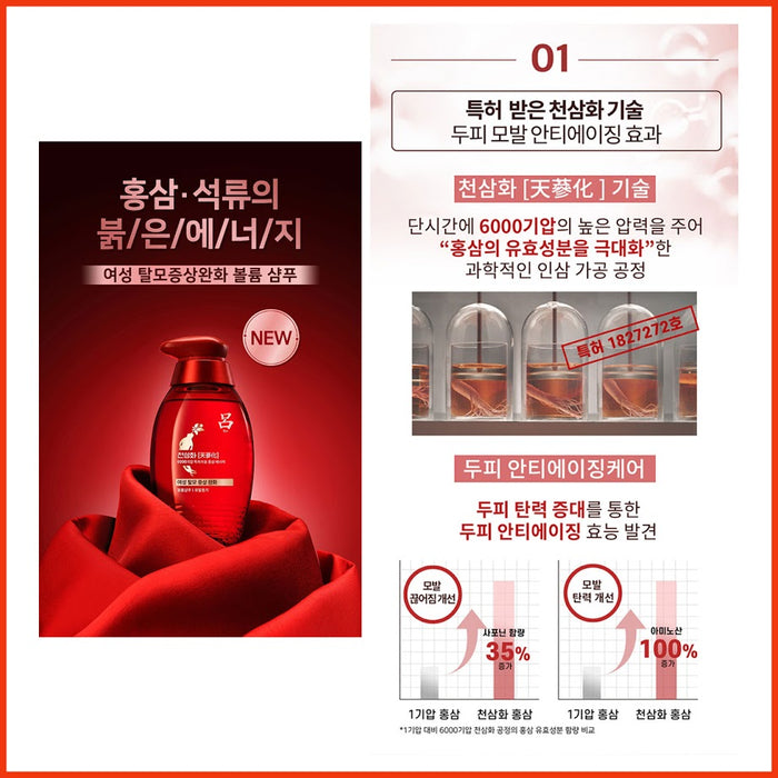 [Ryo] Chunsamhwa Womens Hair Loss Symptom Relief Volume Shampoo Hair Shine 400ml x 2EA