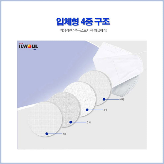 [ILWOUL]30pcs KOREA 3D 4-PLY Premium Mask / Individual Pack / korean mask / Face shield White (L)