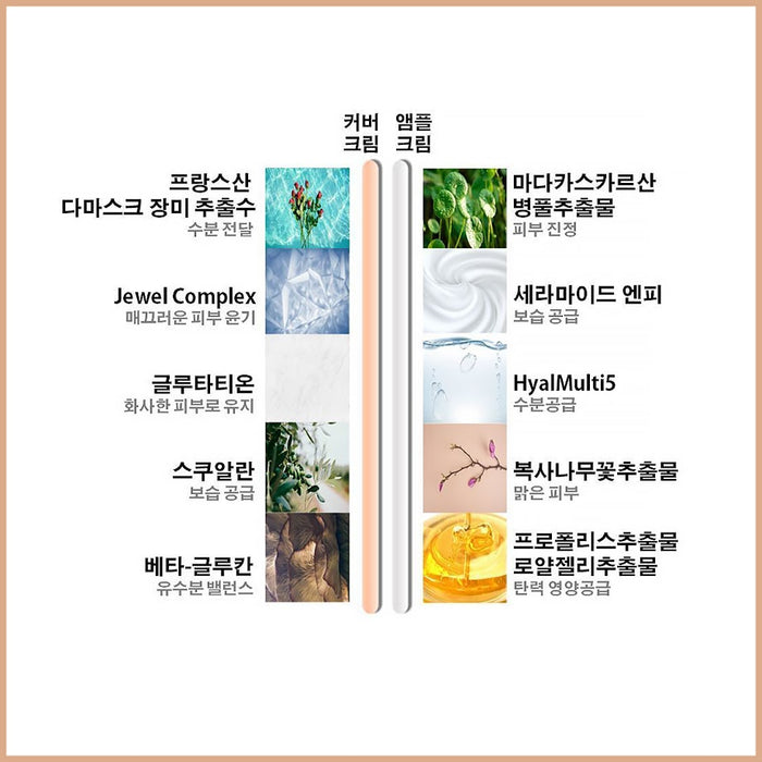 [HIDEAR LAB]  Dual Ampoule Cover Cream 60ml Moisturizer,UV Protection Concealer BB Cream Powder