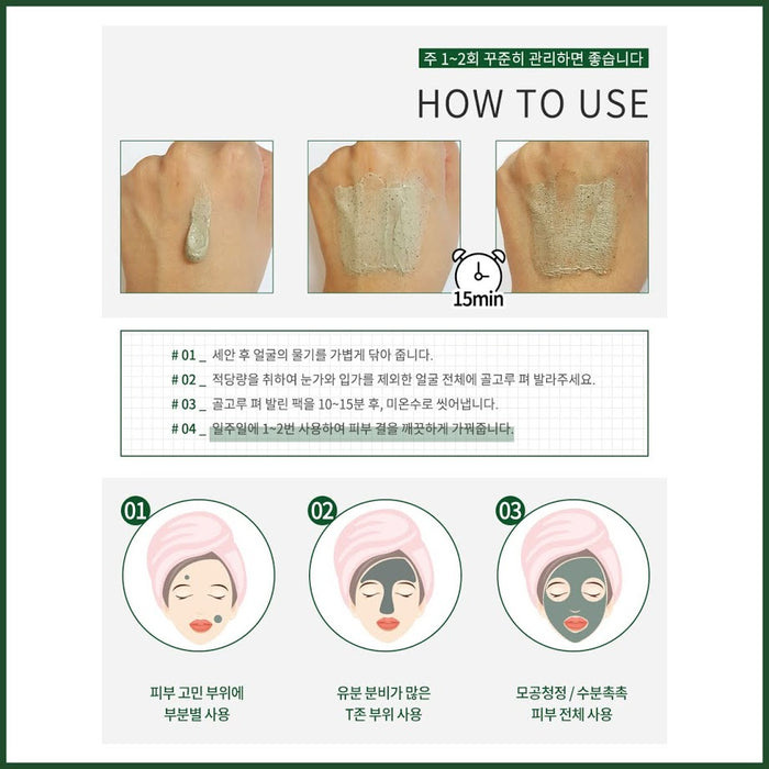 Wash Off Centella Mask Pack 80ml With Centella Asiatica+Green Tea Water Dead Skin Cell/Pore/Moisture