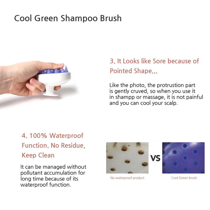 [Cool Green] Shampoo Hair Brush for Scalp Massager with Soft Silicon Brush Head Tourmaline