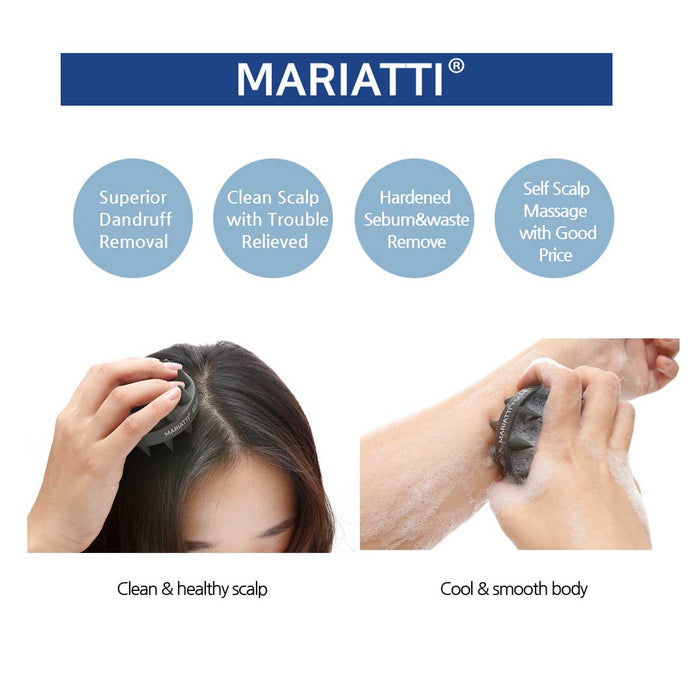 [Mariatti] Hair Scalp Brush Massage & Body Scrub Treatment Dual Function (Black)