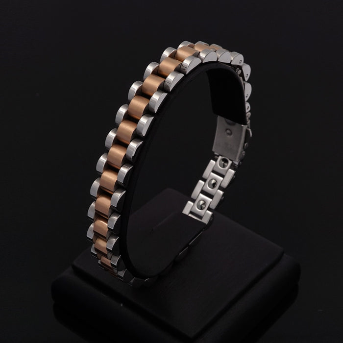[Juade] Taylor Two-Tone Steel Germanium Energy Bracelet