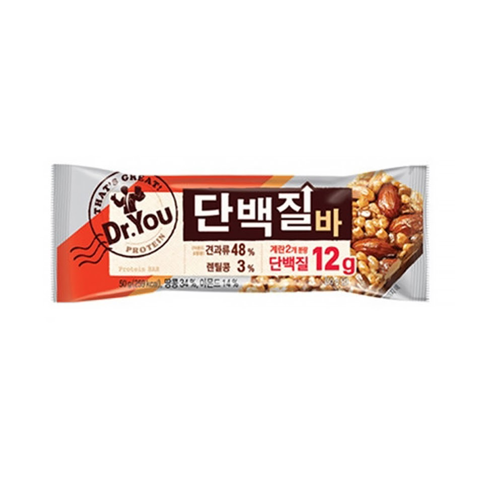 Orion Dr.YOU Protein Bar 50g(259kcal) x6/12EA Nutritional snack To Supplement 12g of Protein