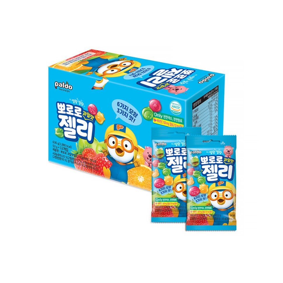 [Paldo ]Pororo 3 Fruit Flavored Gumi Jelly 53g x12 Bags