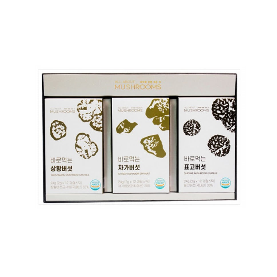Korean Food Ready-To-Eat Granulated Mushroom Set-Phellinus Linteus,Shiitake,Chacha Mushroom 24g Each